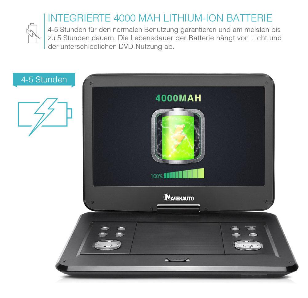 14 Zoll  Mini DVD Player Tragbar für Auto Car Monitor mit  HD 1366x768 digitalem und 270 Grad Schwenkbarem TFT-Bildschirm, 5 Stunden Eingebautem Akku, 3M AC / DC Adapter und Tragetasche