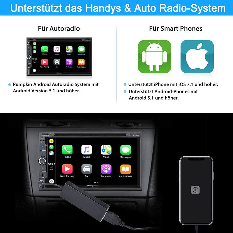 Pumpkin 2 Din Autoradio Android 9,0 Universal 7 Zoll Bildschirm Radio mit Navi Bluetooth, Unterstützt USB/SD Android Auto CarPlay DAB+ WIFI