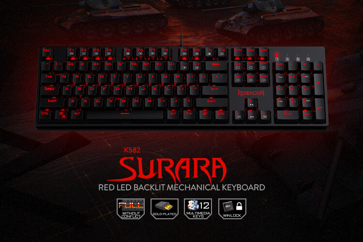 redragon K582 SURARA 104 Standard Keys (Open-box)