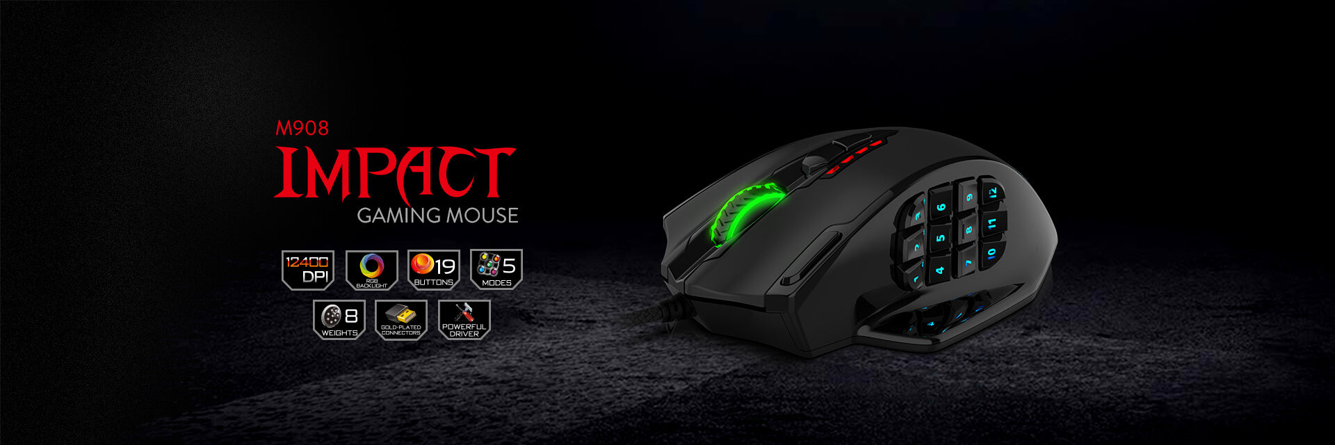 Redragon Impact RGB LED MMO Mouse with Side Buttons Laser Wired Gaming Mouse