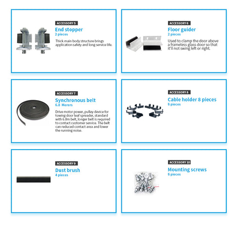 DSL16 sliding door opener accessories details