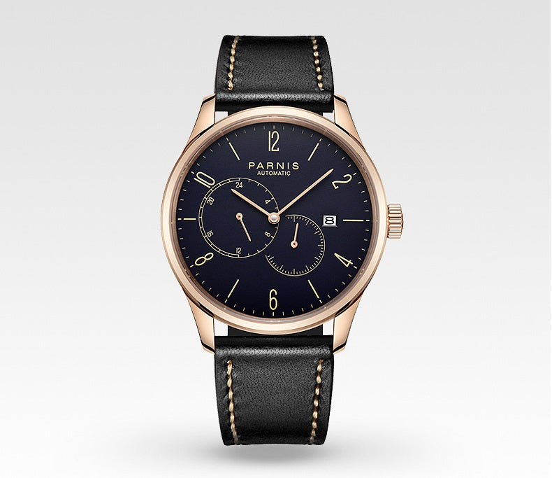 black leather automatic watch