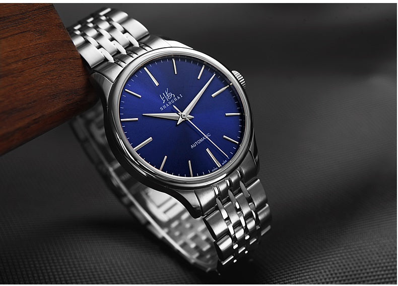 automatic blue dial watch