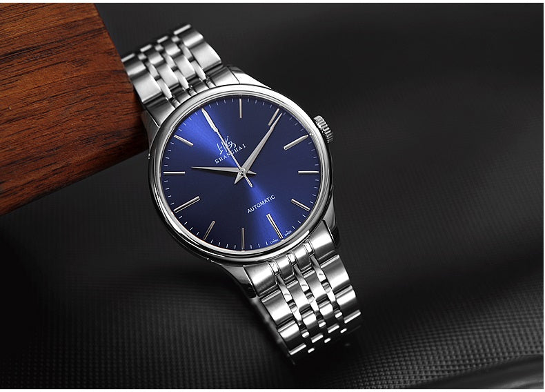 stainless steel watch blue face