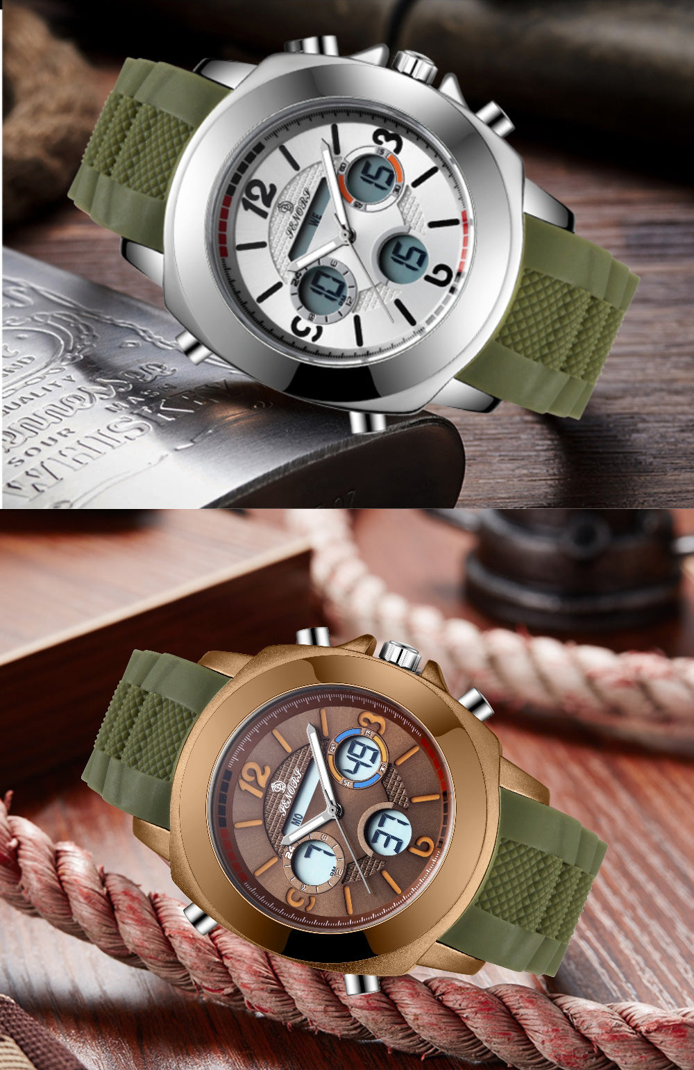 dual time analog watch