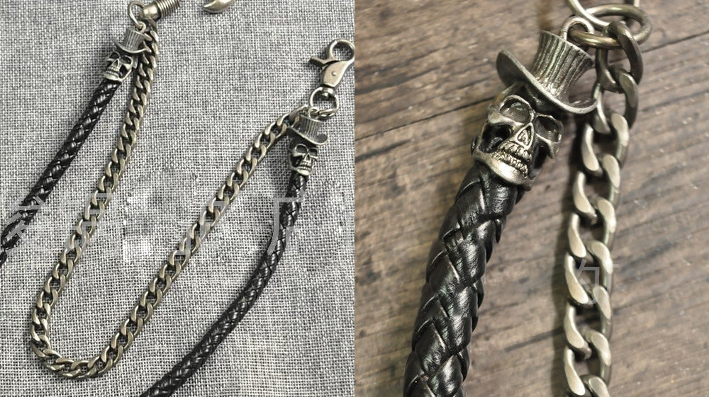 Cool Silver Leather Metal Slilver Double Long Skull Wallet Chain