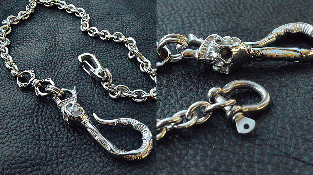 Handmade Fashion Silver Stainless Steel Skulls Long Wallet Chain with Skull Hook