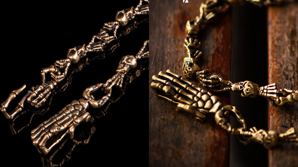 Handmade Punk Long Solid Brass Skull Skeleton Pants Chain