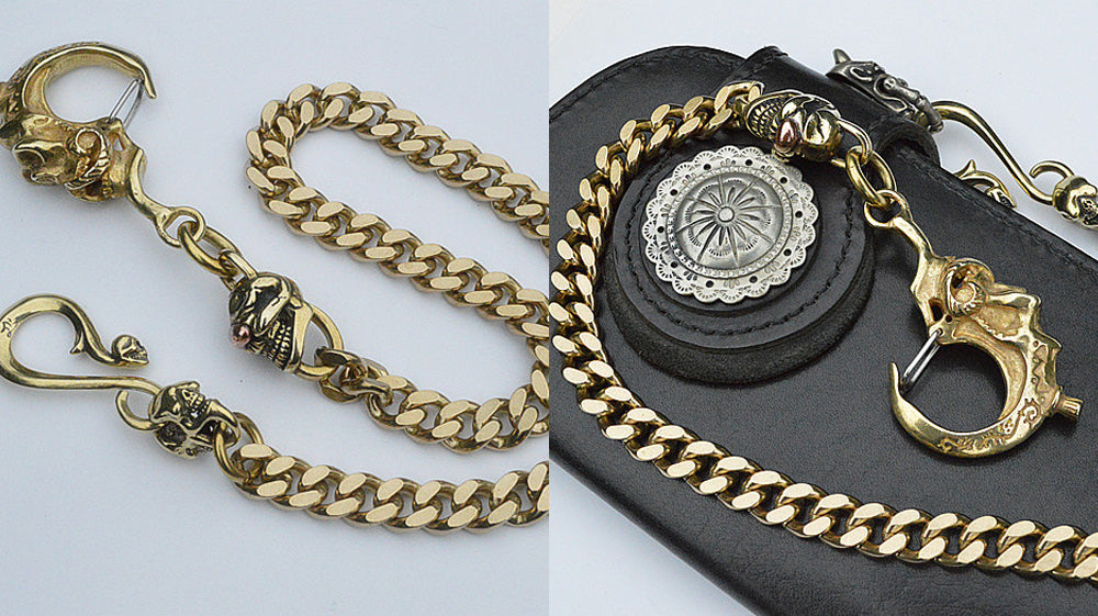 Badass Brass Skulls Long Wallet Chain with Single Eye Skull Charm