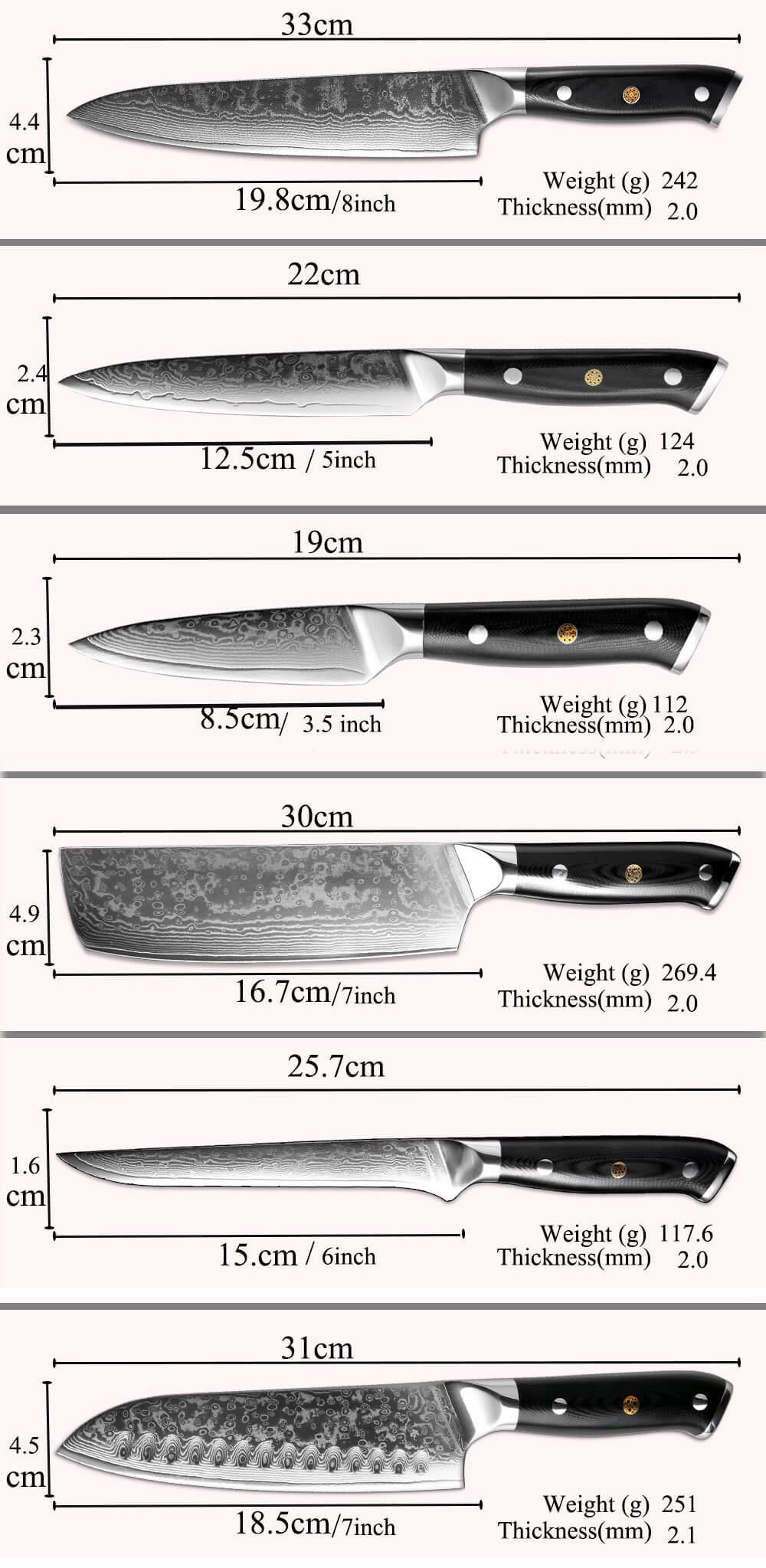 Damascus Kitchen Knife Set - Size