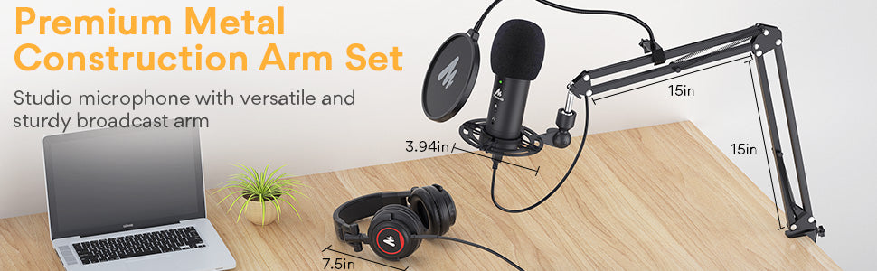 USB Microphone with Studio Headphone Set