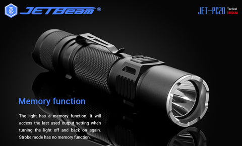 JETBeam PC20 1800 Lumen Type-C Rechargeable Hard Light Tactical Flashlight