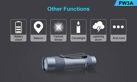 Lumintop FW3A Portable Flashlight LED Super Bright Flashlight 2800 Lumens Flashlight with 3Pcs Cree XPL LED for Flashlight Fans - Grey