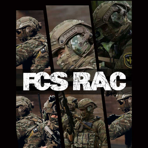 FCS-RAC Pickup Noise Reduction FAST Helmet Tactical Headset - Tan (RAC Headset Voice Version + Standard PTT)