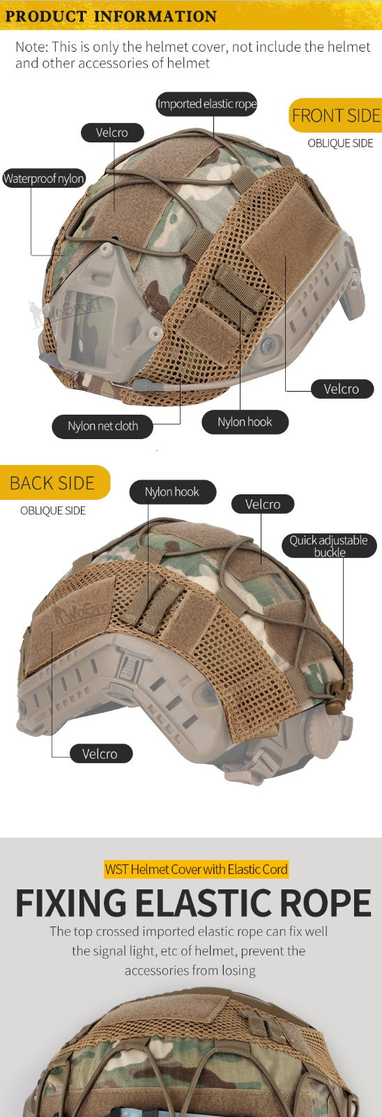 WST Helmet Cover with Elastic Cord