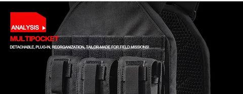 YAKEDA 1000D Detachable Lightweight Modular Tactical Vest Plate Carrier Tactical Vest