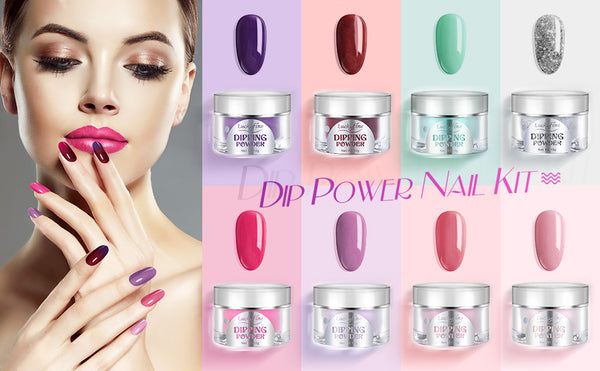 Nail Dipping Powder Kit, 8 Colors Professional Acrylic Powders with 4 Gels, Nail Filenail Brush, Polish Remover Sheet