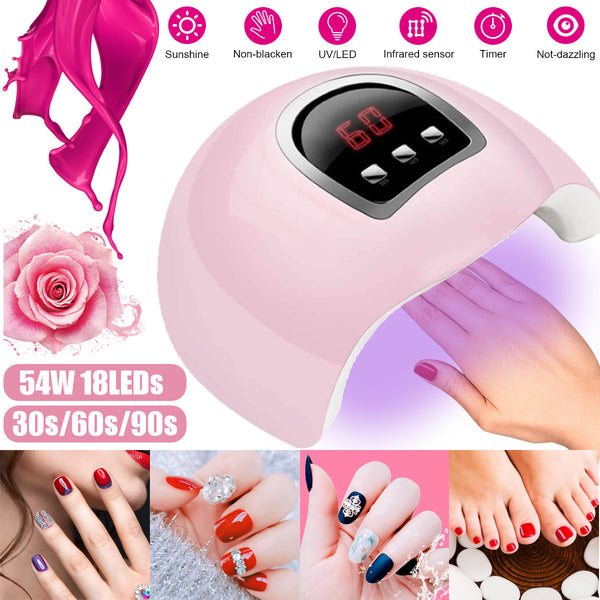 54W LED Nail Dryer Timer UV Light Lamp Gel Nail Polish Professional Nail Lamp
