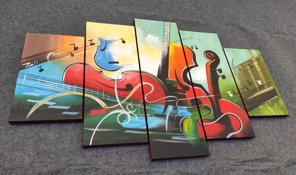Buy Art Online, Acrylic Painting, Violin Painting, Canvas Painting for Living Room, 5 Piece Abstract Painting