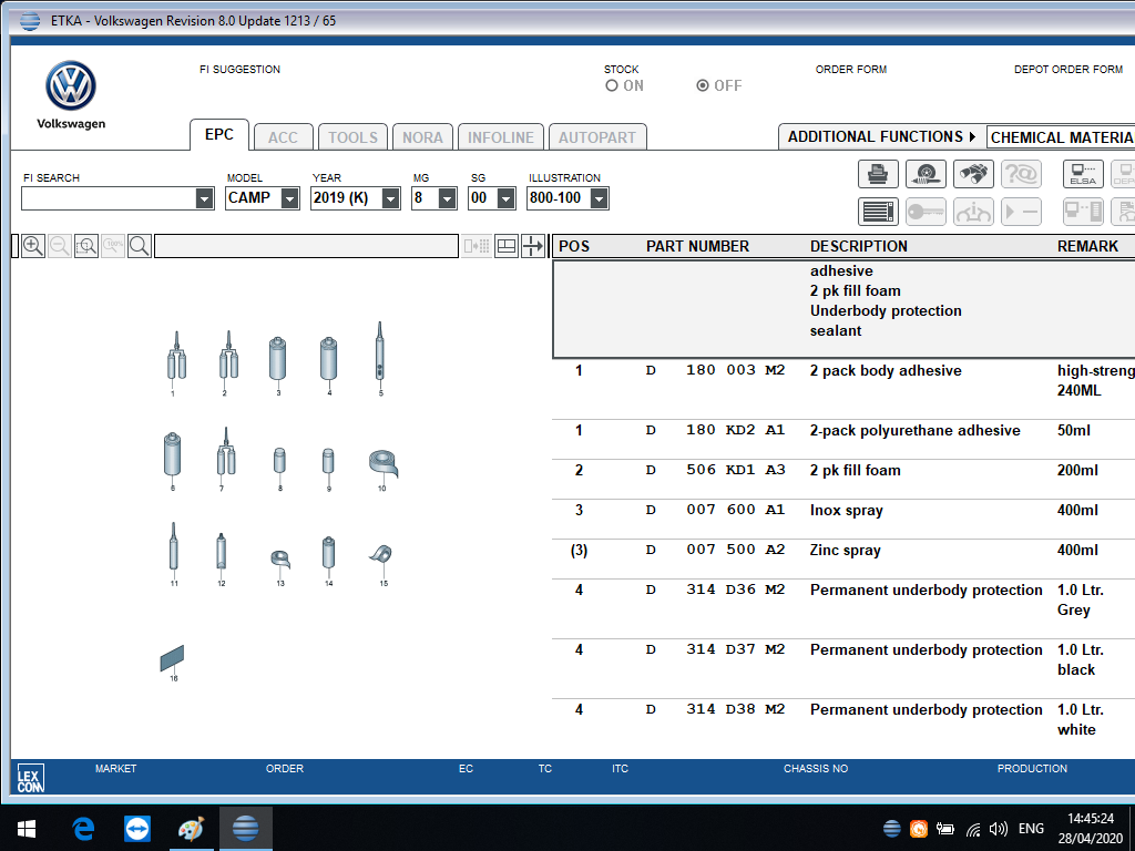 ETKA Parts Catalogue V8.0 Functions