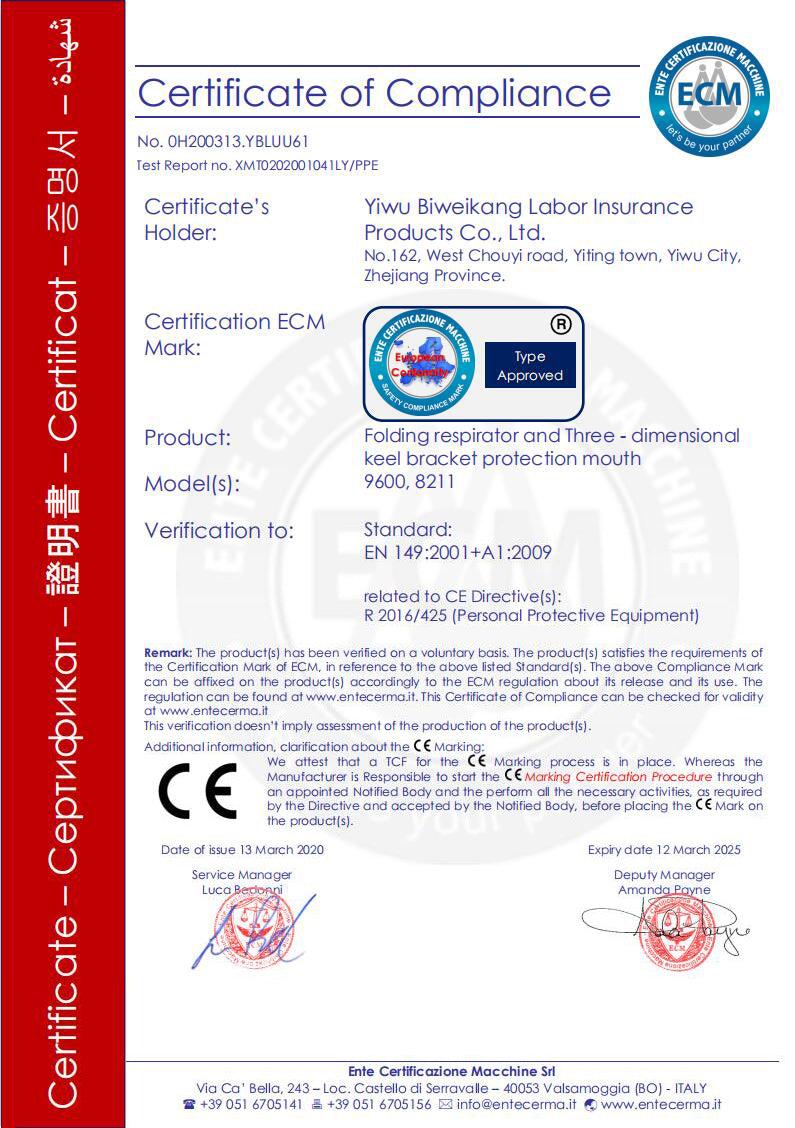 KN95 CE Certificate