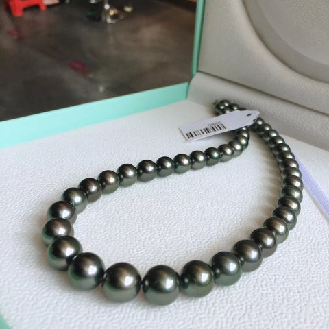 peacock green pearl necklace