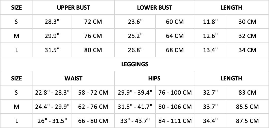Hummingbird Pastel Laser Cut Sports Set Size Chart