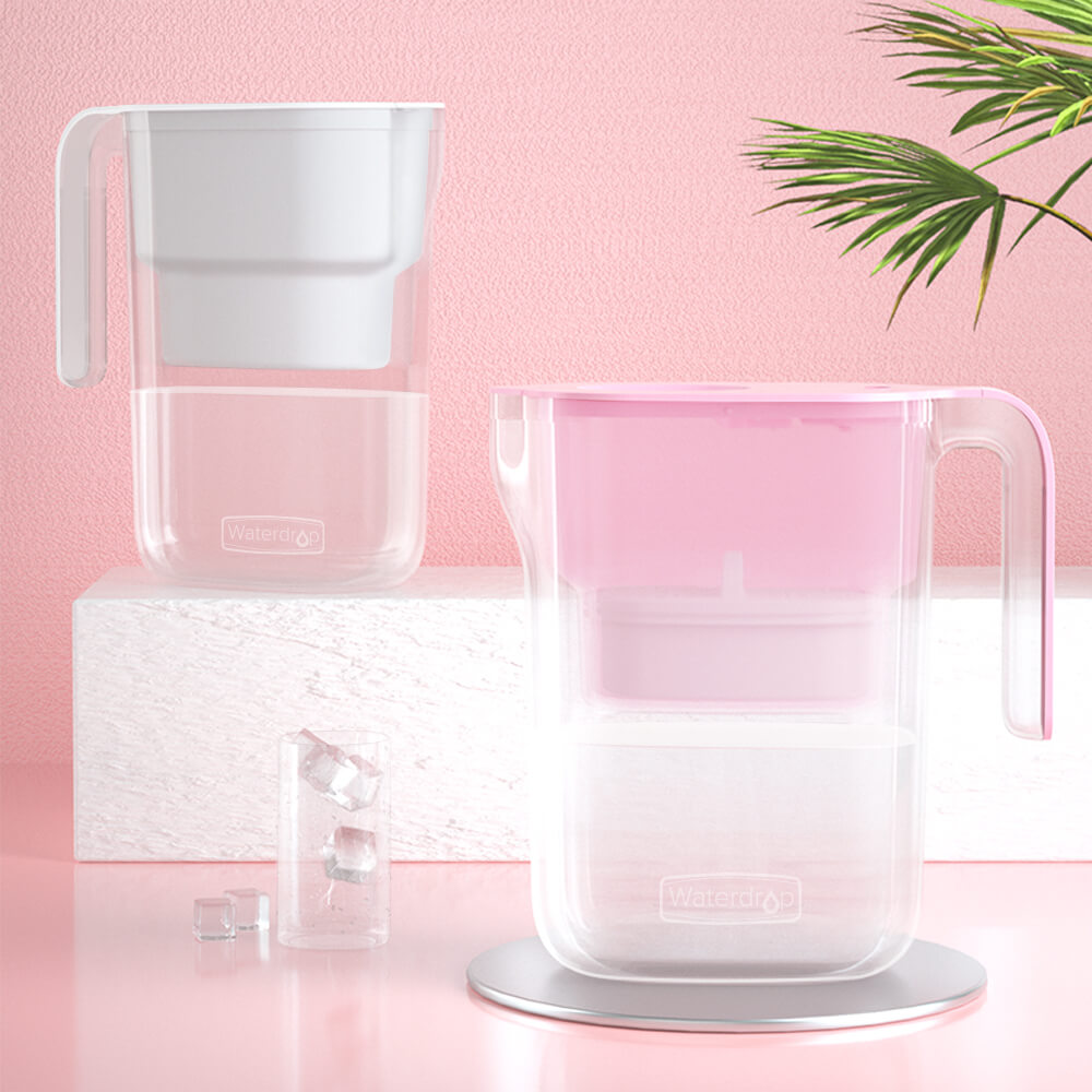 water filter pitcher white and pink