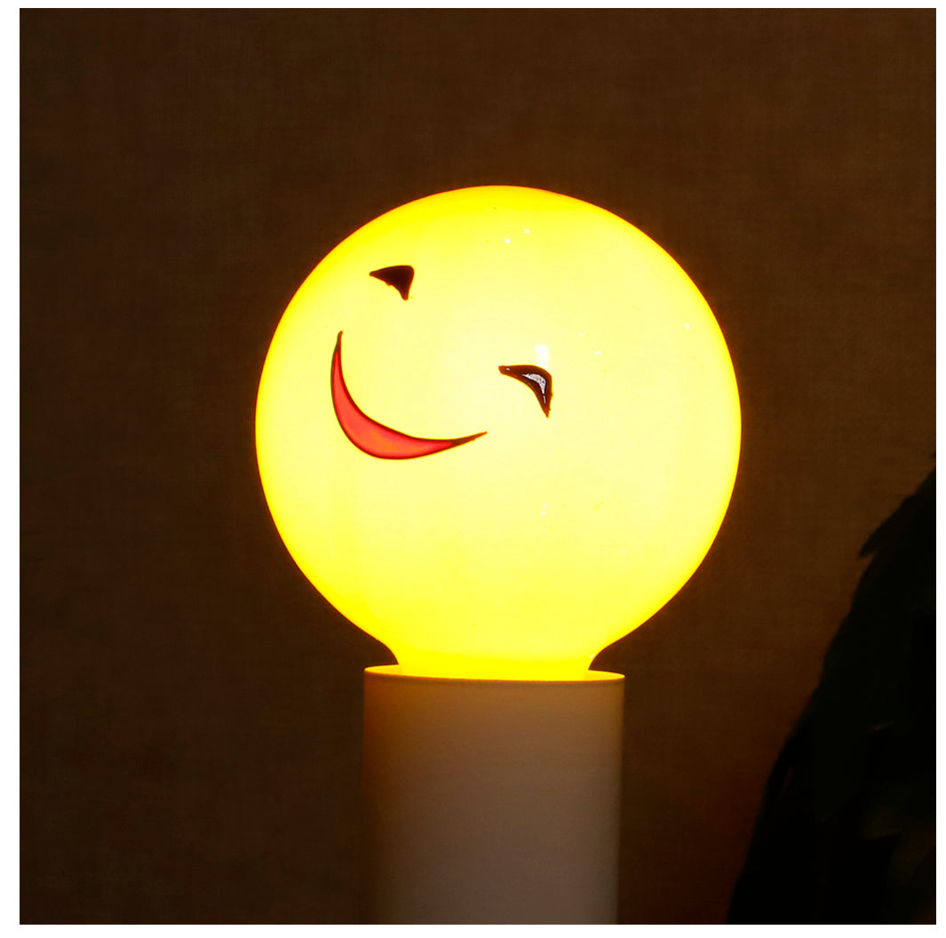 Small Smiling Face Colored Decorative Light Bulb