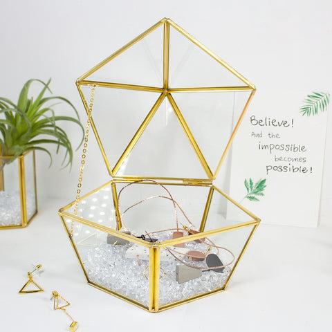 Glass Jewelry Trinket Box Storage