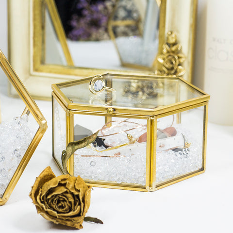 Glass Jewelry Trinket Box Storage