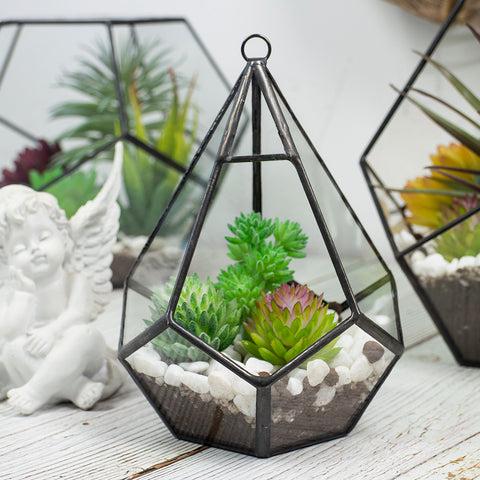 Black Diamond Geometric Glass Terrarium