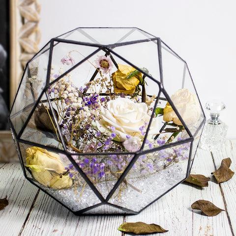 Black Multi-Facet Ball Geometric Terrarium