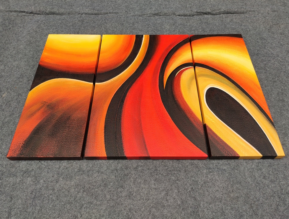 100% hand painted canvas painting, 3 piece canvas painting