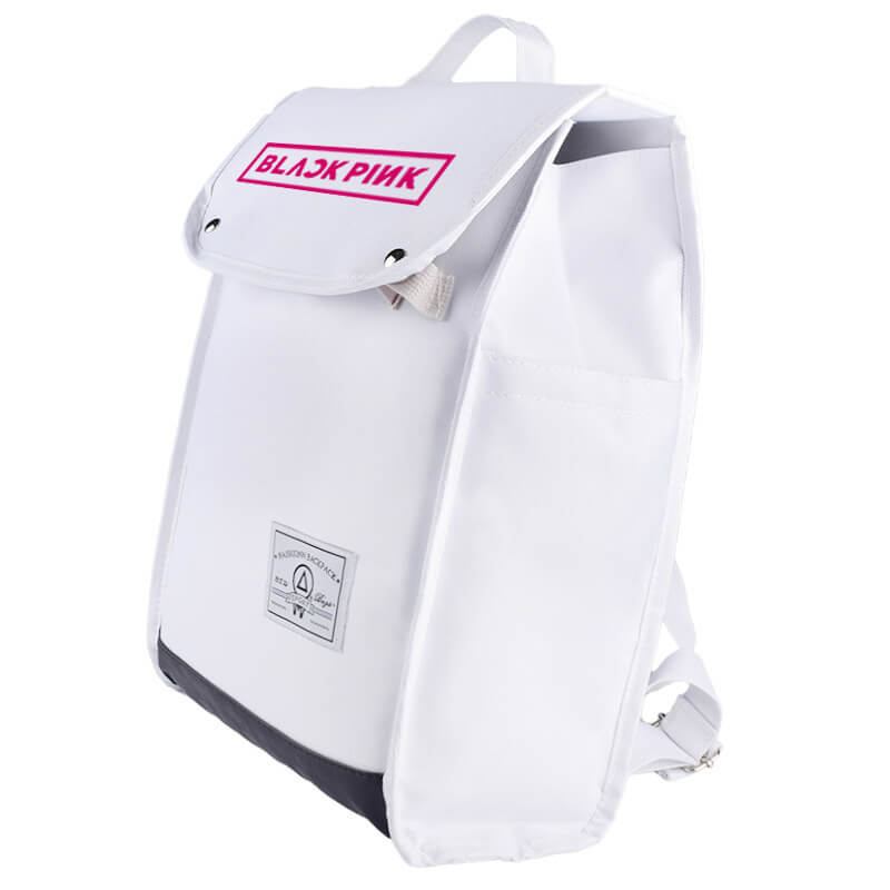 BLACKPINK Simple Design White Canvas Backpack