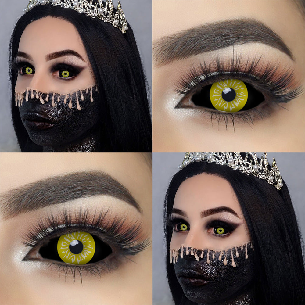 Black and Yellow Sclera Lenses 22mm sclera contact lenses which entirely cover the sclera and iris