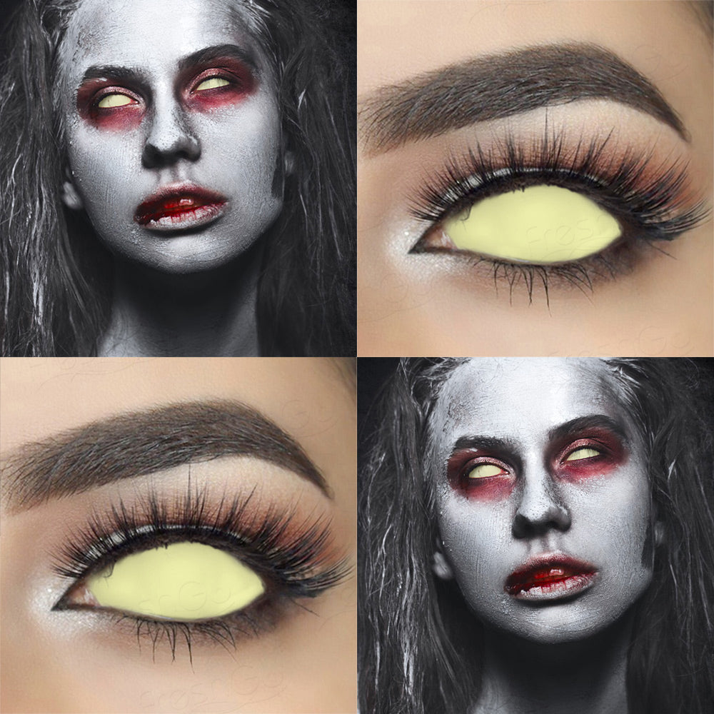 Blind yellowish 22mm sclera contact lenses which entirely cover the sclera and iris