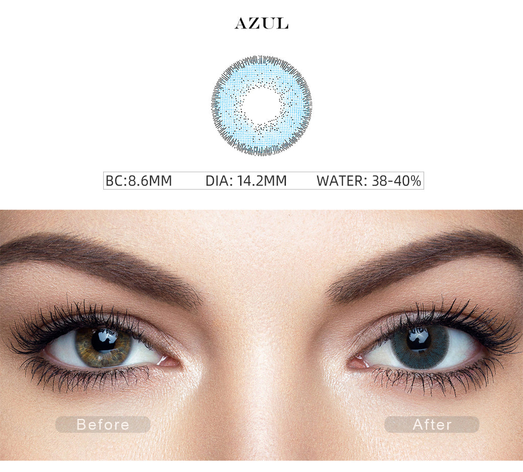 Nature Azul Blue color contact lenses with before and after photo