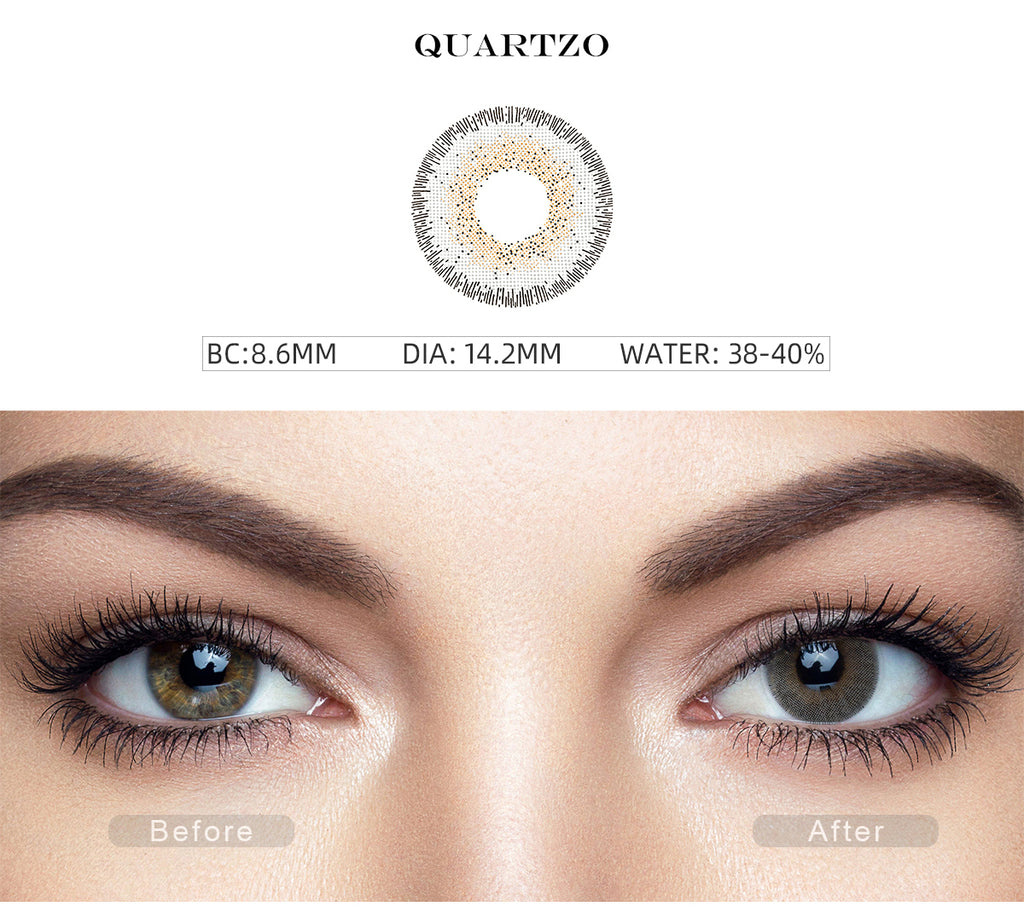 Natural Quartzo Gray color contact lenses with before and after photo