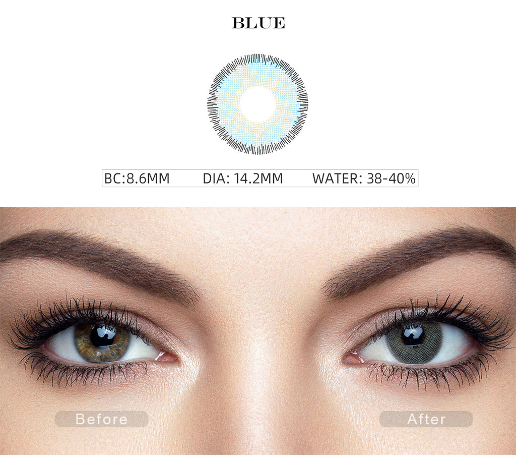 Premium Blue colored contact lenses with before and after photo
