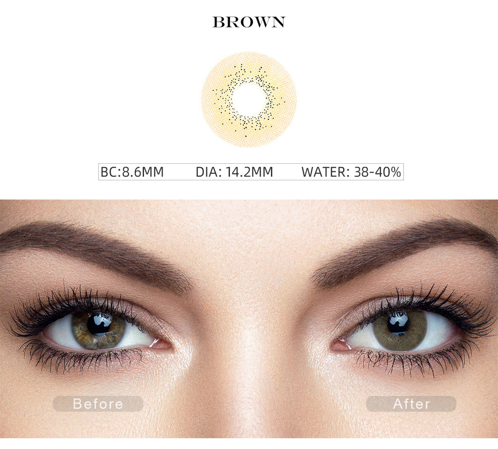 Ocean Brown color contact lenses with before and after photo