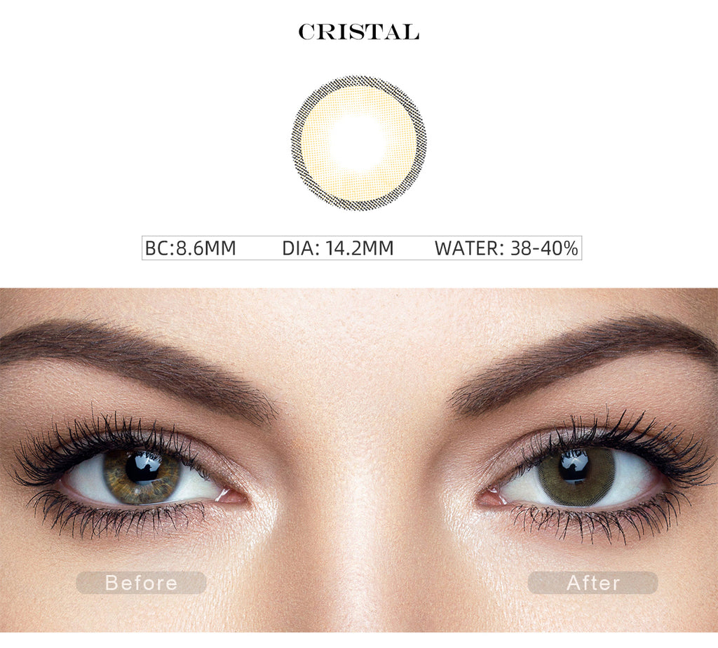 Hidrocharme Cristal color contact lenses with before and after photo