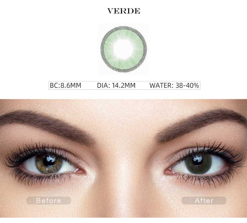 Hidrocharme Verde Green color contact lenses with before and after photo