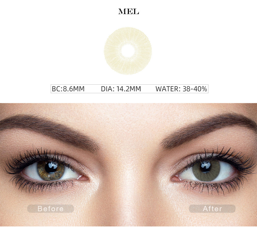 Rio Mel color contact lenses with before and after photo
