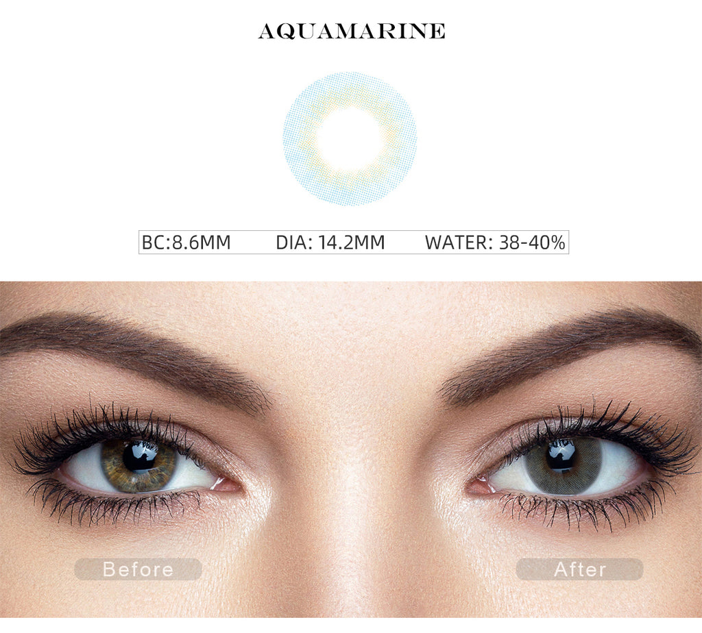 Fancy Aquamarine Blue color contact lenses with before and after photo