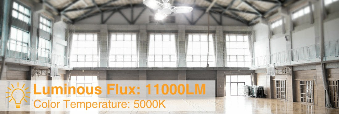 100W E26 LED Garage Lights 5000K Daylight White LED Light Bulbs with Adjustable Panels for Garage
