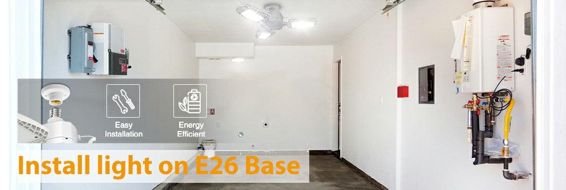 100W E26 LED Garage Lights 5000K Daylight White LED Light Bulbs with Adjustable Panels for Garage
