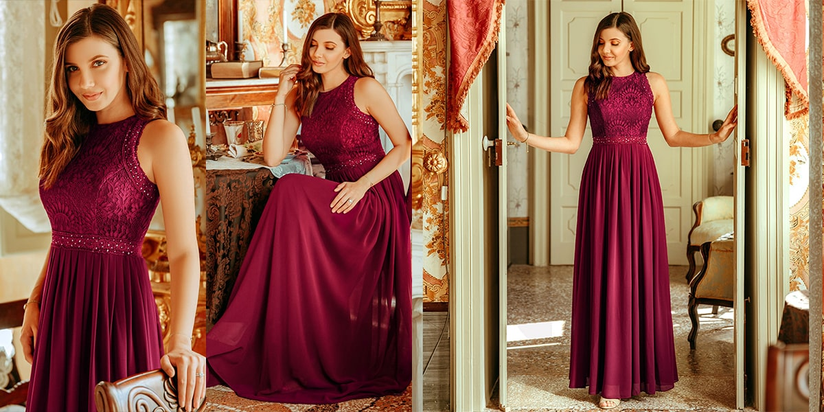 Romantic Empire Waist A-line Lace Bridesmaid Dress