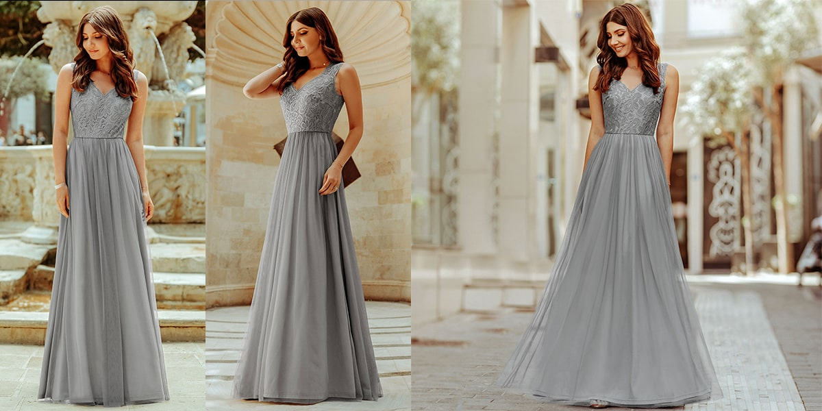 Elegant A Line Bridesmaid Maxi Dress