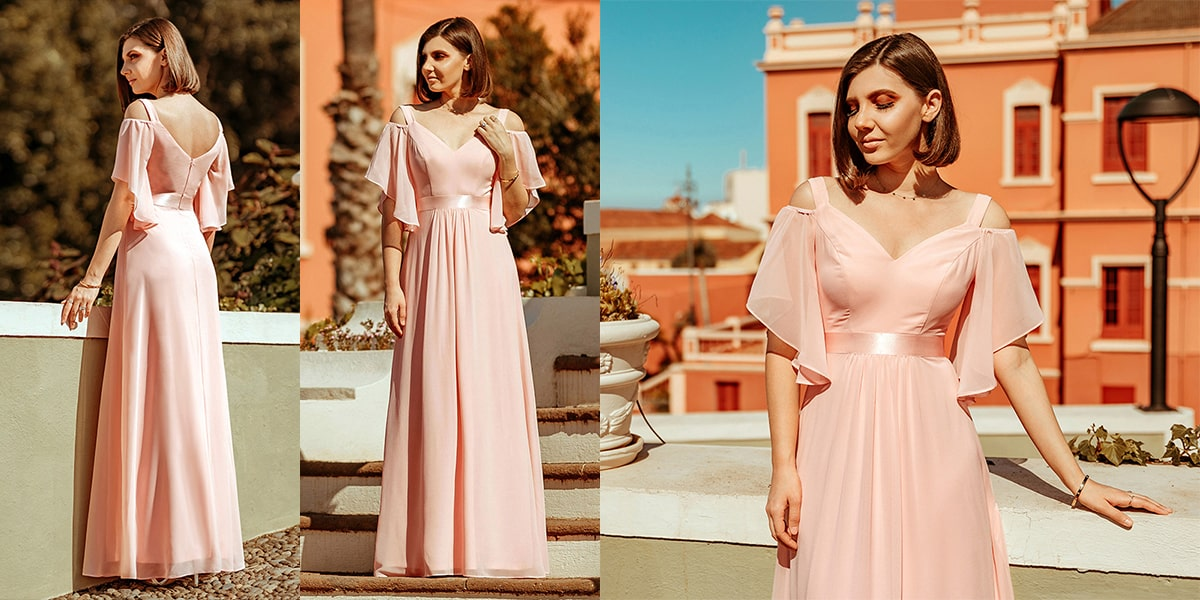 Sweet Off Shoulder Bridesmaid Dress